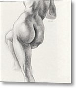 Angelina In 5b Standing Nude Leaning Onto An Art-studio Pedestal Laughing Softly Metal Print