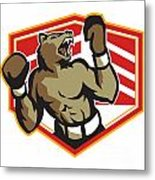 Angry Bear Boxer Boxing Retro Metal Print