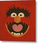 Animal Muppet Vintage Minimalistic Illustration On Worn Distressed Canvas Series No 008 Metal Print