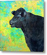 Animals Cow Black Angus  Metal Print by Ann Powell