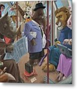 Animals On A Tube Train Subway Commute To Work Metal Print