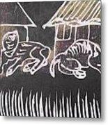 Animals Pose In The Remote Village. Metal Print
