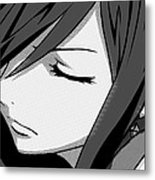 Anime Girl Black And White Metal Print
