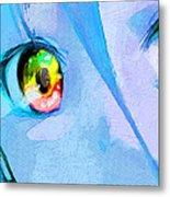 Anime Girl Eyes Blue Metal Print