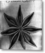 Anise Star Single Text Distressed Black And Wite Metal Print