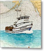 Ann Kathleen Crab Fishing Boat Nautical Chart Map Art Metal Print