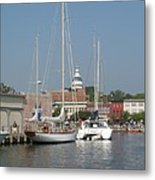 Annapolis Harbor Alongside Dock Street Metal Print