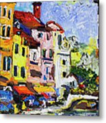 Annecy France Canal And Bistros Impressionism Knife Oil Painting Metal Print