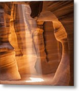 Antelope Canyon Gorgeous Lightbeam Metal Print