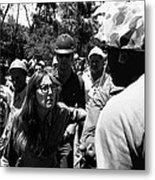 Anti-viet Nam War Protestor Confronting Smoking Marine Pro-war March Tucson Arizona 1970  Metal Print