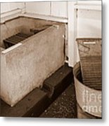 Antiquated Bathtub Washboard And Laundry Tub In Sepia Metal Print