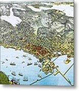 Antique 1891 Seattle Map Metal Print by Dan Sproul