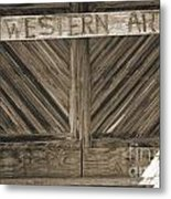 Antique Barn Doors In Sepia Black And White 3003.01 Metal Print