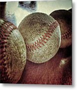 Antique Baseballs Still Life Metal Print