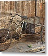 Antique Bicycle In The Town Of Daxu Metal Print