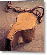 Antique Brass Military Whistle Metal Print