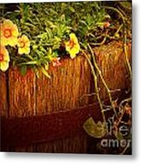 Antique Bucket With Yellow Flowers Metal Print