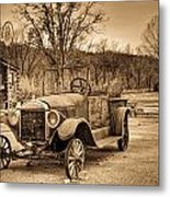 Antique Car At Service Station In Sepia Metal Print