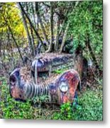 Antique Car With Trees In Windshield Metal Print