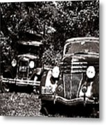 Antique Cars Black And White Metal Print