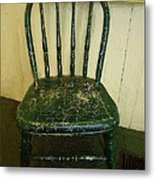 Antique Child's Chair With Quilt Metal Print