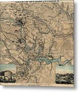 Antique Civil War Map Of Richmond And Petersburg Virginia By William C. Hughes - Circa 1864 Metal Print