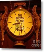 Antique Clock At The Bown Palace Hotel Metal Print