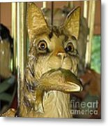 Antique Dentzel Menagerie Carousel Cat With Fish In Rochester New York Metal Print