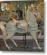 Antique Dentzel Menagerie Carousel Horse Colored Pencil Effect Metal Print by Rose Santuci-Sofranko