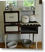 Antique Estate Stove With Cookware Metal Print