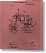Antique Fire Engine Patent On Red Metal Print