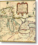 Antique French Map Of The Great Lakes 1755 Metal Print