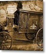 Antique Hearse As Tintype Metal Print