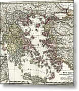 Antique Map Of Ancient Greece Metal Print