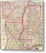 Antique Map Of Arkansas Mississippi And Louisiana Metal Print