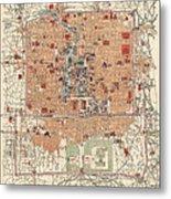 Antique Map Of Beijing China - 1914 Metal Print