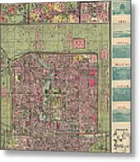 Antique Map Of Beijing China By Jiarong Su - 1921 Metal Print by Blue Monocle