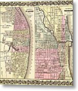 Antique Map Of Chicago And St Louis 1855 Metal Print