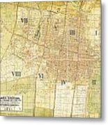 Antique Map Of Del Plano Oficial De La Ciudad De Mexico Metal Print