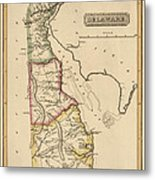 Antique Map Of Delaware By Fielding Lucas - Circa 1817 Metal Print
