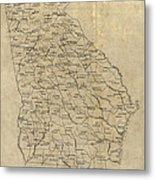Antique Map Of Georgia - 1893 Metal Print