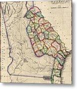 Antique Map Of Georgia By Samuel Lewis - Circa 1810 Metal Print