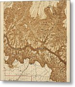 Antique Map Of Grand Canyon National Park - Usgs Topographic Map - 1903 Metal Print
