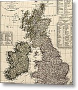 Antique Map Of Great Britain And Ireland By I. G. A. Weidner - 1801 Metal Print