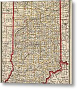 Antique Map Of Indiana By George Franklin Cram - 1888 Metal Print