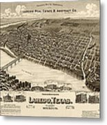 Antique Map Of Laredo Texas - Circa 1892 Metal Print