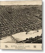Antique Map Of Little Rock Arkansas By H. Wellge - 1887 Metal Print