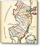 Antique Map Of New Jersey Metal Print
