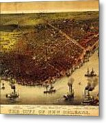 Antique Map Of New Orleans Metal Print