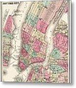 Antique Map Of New York City Metal Print